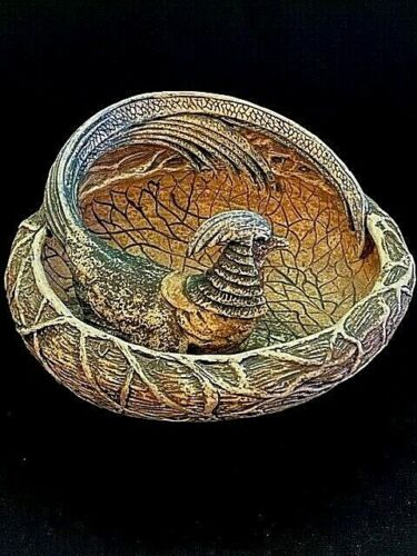 RARE & UNUSUAL SIGNED ANTIQUE AMPHORA ART POTTERY PHEASANT & NEST BOWL, VHTF