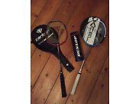 Badminton rackets and shuttlecocks