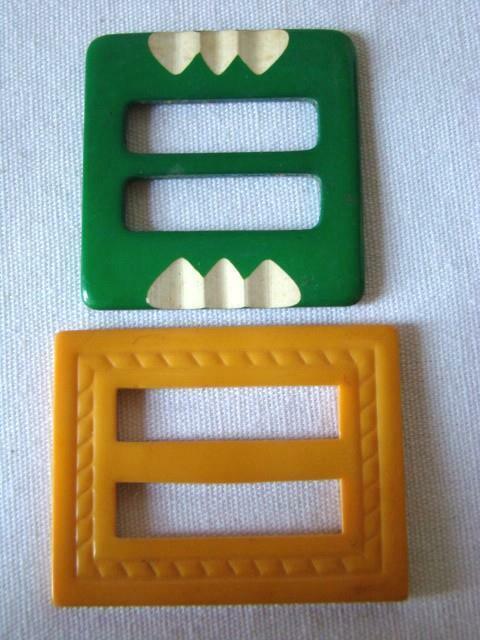 2 Old BAKELITE Plastic Belt Buckles, Christmas Green & BUTTERSCOTCH, Re-Purpose
