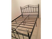 Metal double bed frame (black with chrome detail)