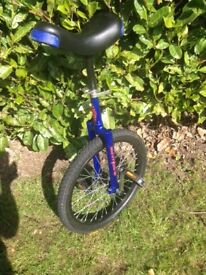 Unicycle for sale - B-square, blue. Max weight 80kg, 20 inch wheel. Good condition £25 ono