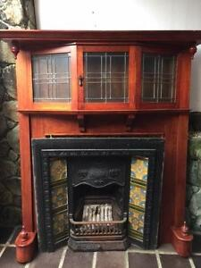 Fireplace Cast Iron and Solid Timber Mantel Dee Why Manly Area Preview