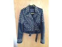 punk/alternative/goth killstar genuine black leather jacket small with studs