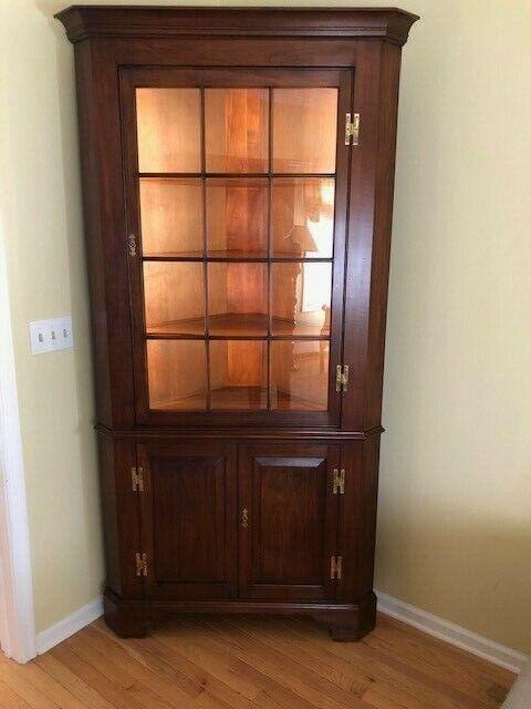 Henkel Harris Solid Cherry 12 Pane Lighted Corner Cabinet
