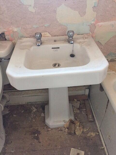 Bathroom Sinks Glasgow vintage 1950,s armitage shanks,art deco bathroom wash basin