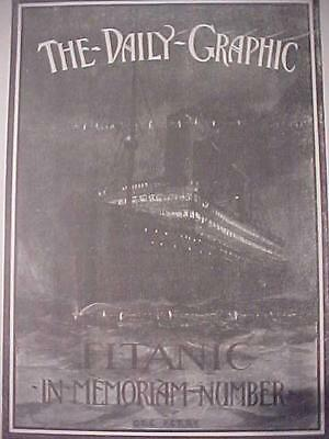 VINTAGE NEWSPAPER HEADLINE~STEAM SEA SHIP WRECK  SINKS TITANIC DISASTER MEMORIAM