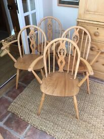 Set of Four ERCOL Windsor dining / carver chairs