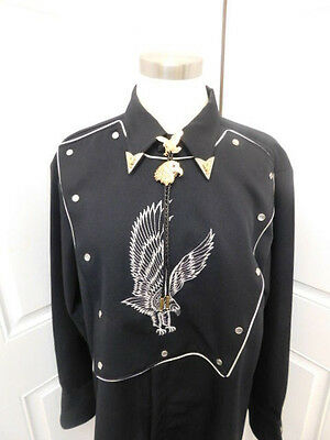 BLACK WESTERN SHIRT BOLO TIE EAGLE H BAR C VINTAGE PEARL SNAP 16 1/2 RANCH WEAR