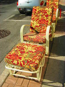 ART DECO RATTAN CHAIRS AND FOOTSTOOLS c.1970