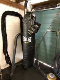 Punchbag, heavy duty stand and gloves