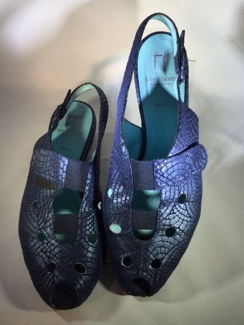 Thierry Rabotin Blue Metallic Leather Slingback Wedge Size 41 1/2
