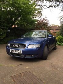 AUDI A4 CONVERTIBLE 2003 - LOW MILEAGE - GOOD CONDITION AND LIVES IN THE GARAGE - MOT TO 19.03.18