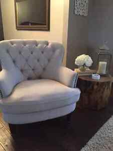 Two Elegant Grey Accent Chairs