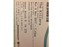 2 seated tickets to The Killers Genting Arena 6th Nov Birmingham