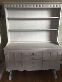 Large Welsh dresser shelving unit painted in Annie Sloan grey chalk paint. Shabby chic.
