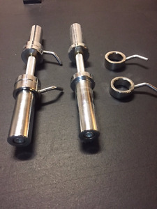 2 Northern Lights Olympic Dumbbell Handles Plus Collars