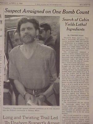 VINTAGE NEWSPAPER HEADLINE ~TERRORIST KILLER TED KACZYNSKI UNABOMBER CAUGHT 1996