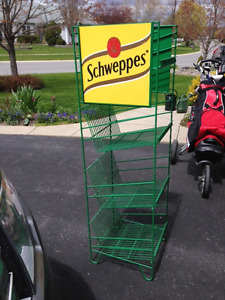Industrial quality Schweppes Tin Signage on display Rack