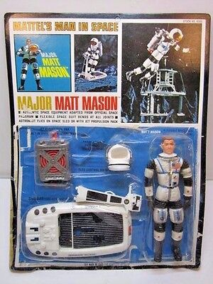 VINTAGE 1966 MATTEL MAJOR MATT MASON UNPUNCHED CARD OPENED 1960'S SPACE TOY