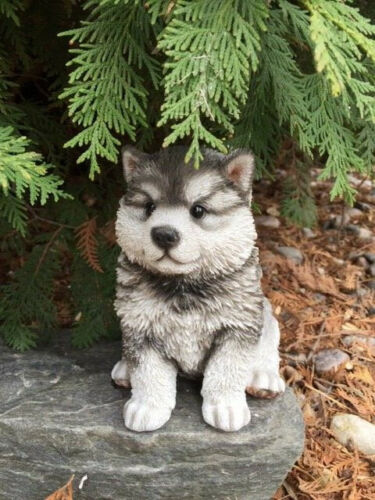 "MALAMUTE PUPPY DOG SITTING FIGURINE RESIN PET ORNAMENT NEW 6.5"" GIFT HUSKY"