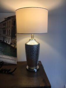 Beautiful chrome lamp with white shade and LED bulb