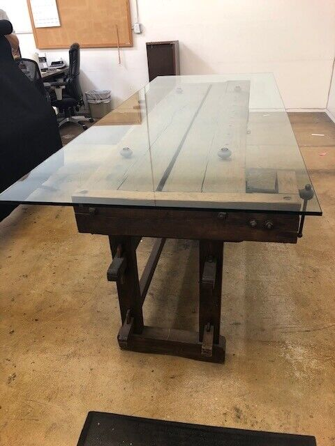 Carpenters Vintage Workbench (dining table) with 2 vices and large drawer