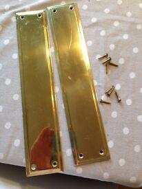 Good condition, pair of brass door plates