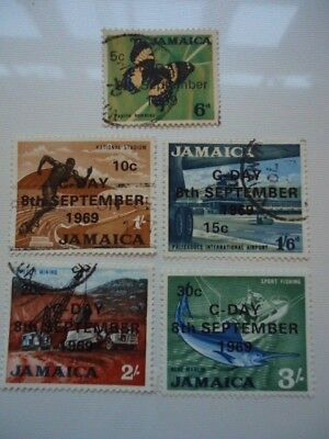 Jamaica 1969 SG284,286-289 5c on 6d to 30c on 3/- used Decimal Currency