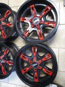 MOTO METAL MO969 TRUCK RIMS 20''x 9'' BLACK FINISH W/RED ACCENTS *LIGHTLY USED* (SET OF 4)