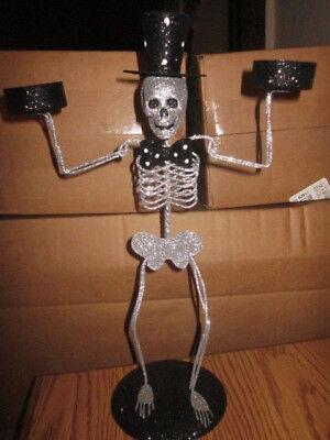 Pier 1 Halloween Glitter Skeleton Metal Figure Dbl Tea Light Tealight Holder LG  - Pier 1 Halloween Lights