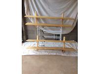 2 x IKEA Varde Beech Wall Shelves With 5 Hooks