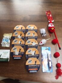Selection of cat food, treats and toys (15 items). All new. Collect Fulham. All new