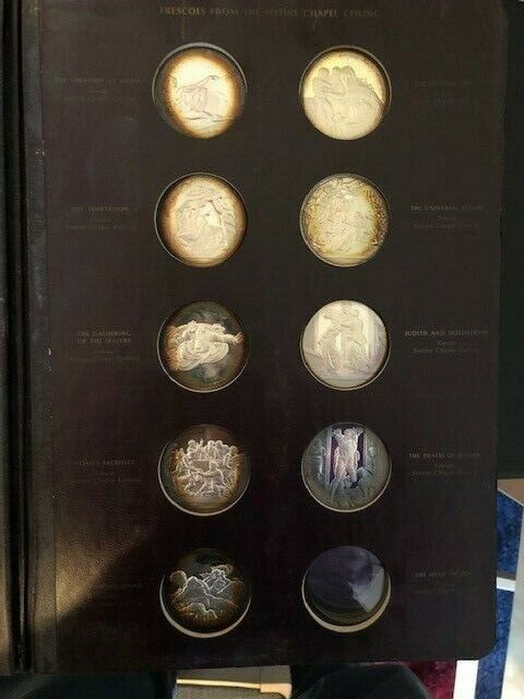 Sterling Silver Coins-The Genius Of Michelangelo Franklin Mint-Book with 9 Coins