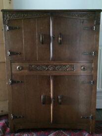 Antique Arts and Crafts Hall, Kitchen Cupboard linen, larder storage cupboard
