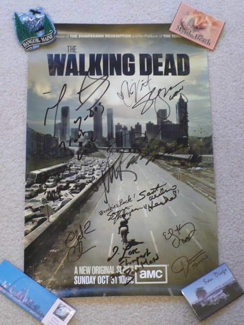 The Walking Dead poster signed by 12
