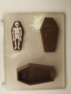 COFFIN AND SKELETON CASKET CLEAR PLASTIC CHOCOLATE CANDY MOLD H078 (Plastic Coffins)