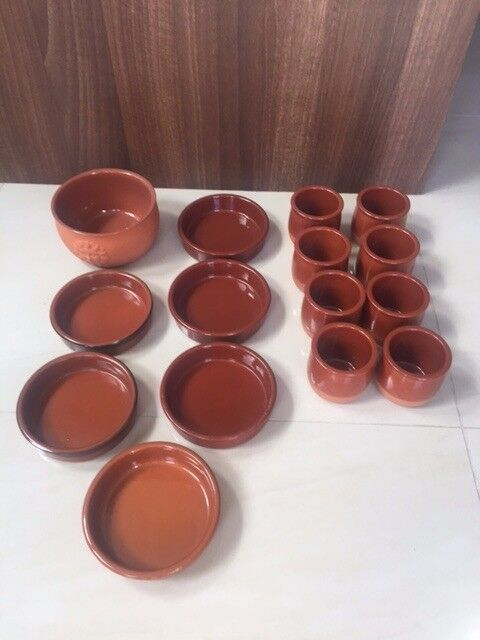 Selection of 13 Terracotta Tapas/Baking dishes and bowls. Collect from Fulham