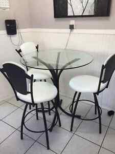 Glass bistro style table and chairs