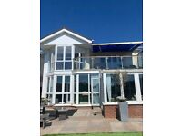 Brustor B25 Awning complete with Intel eolis RTS wind sensor and Somfy remote control .