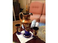 BLUE FLOWER AND GOLD JUG AND TUMBLER SET