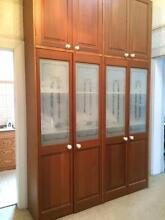 Large solid timber built in cupboard with etched glass in doors Hamilton South Newcastle Area Preview