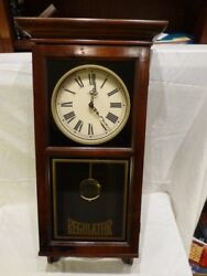 HOWARD MILLER BARWICK REGULATOR PENDULUM WALL CLOCK WOOD GLASS Quartz Chime RARE