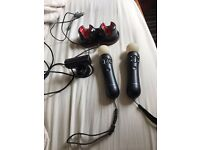 PlayStation move controllers, charger and PS3 camera