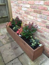 80 cm GARDEN TROUGH PLANTERS, MANY SIZES/COLOURS,TREATED WOODEN, HERBS,STRAWBERRY,FLOWERS