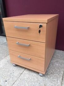 3 drawer beech pedestal with key