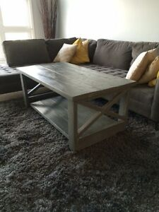 Hand crafted wood coffee table. Grey stain finish