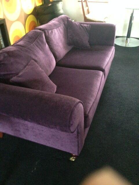 purple aubergine plush velvet, vintage style 3 seat sofa,
