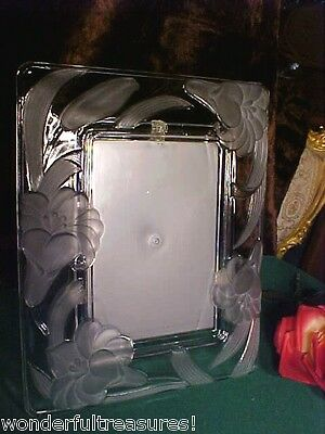 BEAUTIFUL Crystal Glass & 3D FROSTED FLOWERS 4 x6 Picture Photo Frame HEAVY!