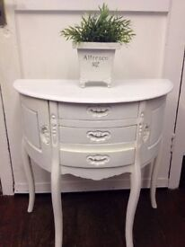Vintage *HALF MOON CABINET* French Boudoir Drawers Shabby Chic Distressed White