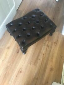 Antique Chesterfield Leather Footstool